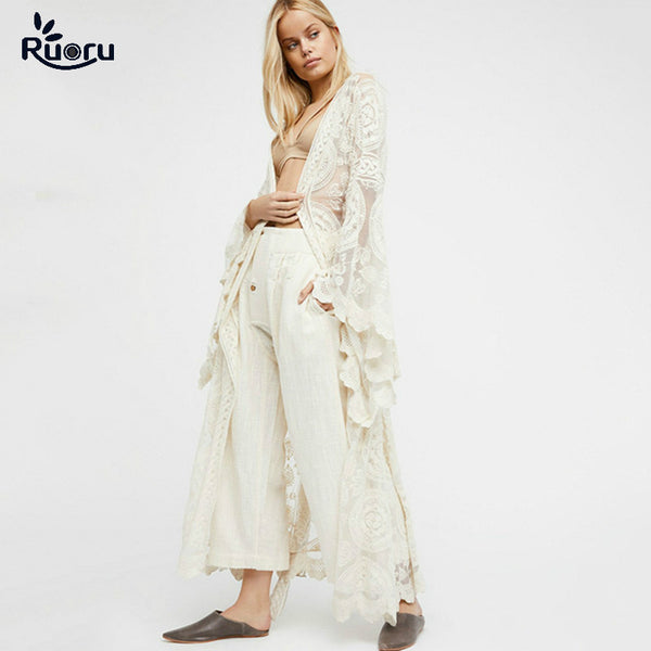 Ruoru Kimono Boho Summer Holiday Beach Cover Lace Tops Bell Sleeve Hollow Out Kimono Long See Though White Kimono Jacket