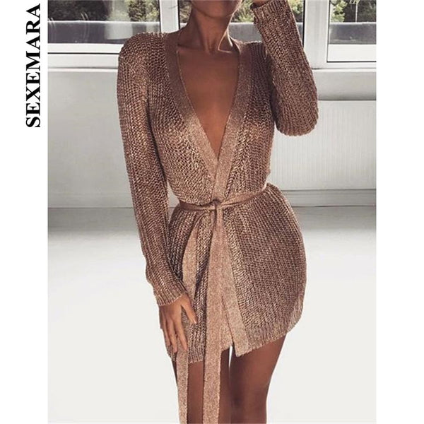 SEXEMARA Rose Gold Sexy Dress Cardigan Sweater Women Coat 2018 Autumn New Deep V Long Sleeve Hollow Sweaters with Belt C79-BA-39