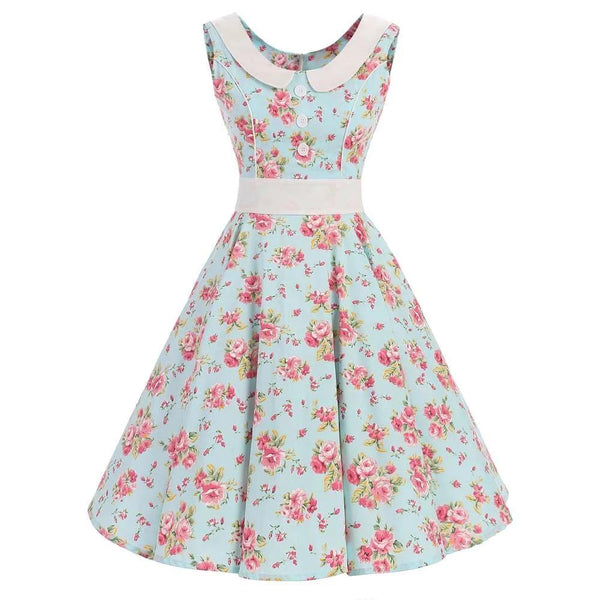 Summer Leopard Floral Dress Plus Size Retro Vintage Rockabilly Dress 50s 60s Mint Green Cotton Party Dresses