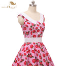 SISHION Elegant Sundress Party Dresses Summer Women Retro Cotton Floral Cherry Strawberry Print 50s 60s Vintage Dress VD0767