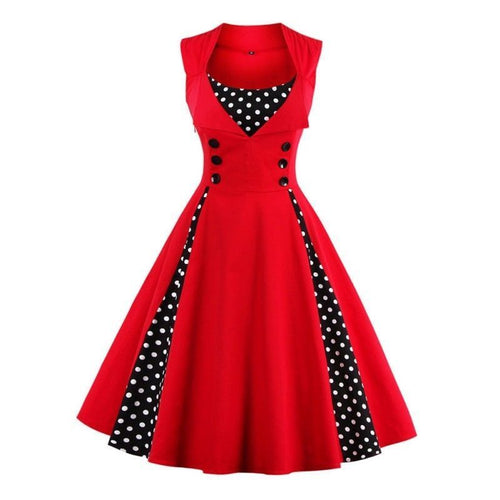 SSLine Women Hepburn Dresses Polka Dot Retro Vintage Style Cocktail Party Swing Dress 1950s Retro Rockabilly Gown Feminino Ves