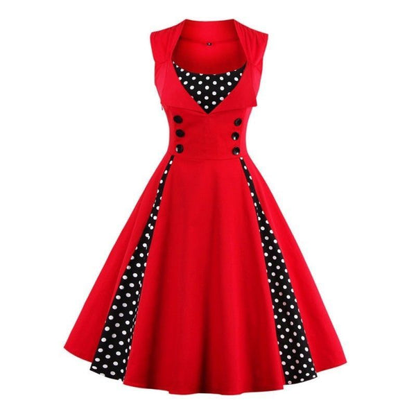 Women Hepburn Dresses Polka Dot Retro Vintage Style Cocktail Party Swing Dress 1950s Retro Rockabilly Gown Feminino