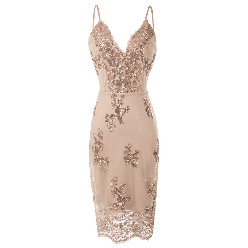 Sequins mini dresses Spaghetti strap Deep V floral bodycon dress Newest womem femme Backless sexy fashion Summer clothings