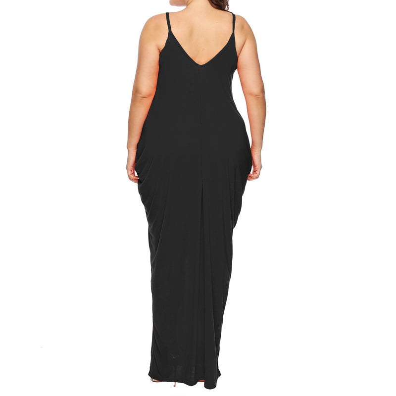 Sexy v neck summer dress women Embroidery spaghetti strap pockets long maxi dresses plus size Evening party black dress festa