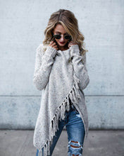Simenual Criss cross knitted cardigans for women fashion irregular slim fringe long cardigan female winter sweater jackets sale