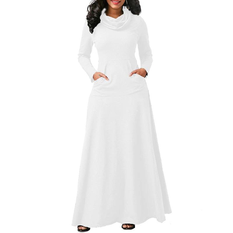 Stigende Solid Color Cotton Casual Long Dress Women Cowl Neck Floor Length Dress Full Sleeve Pocket Swing Maxi Dresses Spring