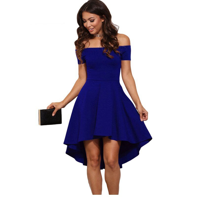 Summer women ladies short sleeve summer off shoulder short mini dress slash neck solid A-line slim mini dress