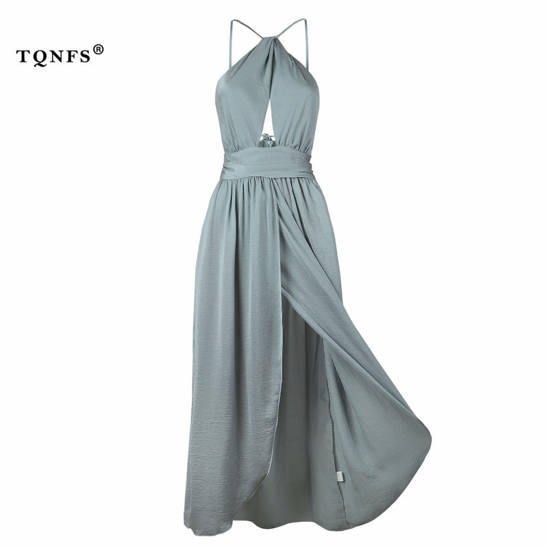 TQNFS Boho Halter Backless Long Women Dress Hollow Out Bow Split Summer Dress Irregular Gray Beach Maxi Dress