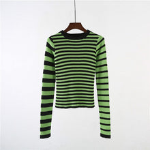 Unif Harajuku Contrast Striped Sweater Black & Green Color Block Ribbed Knit Slim Tops Sweater Women Pullovers
