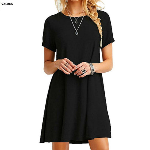 VALOKA Women's Casual Plain Short Sleeve Simple T-Shirt Loose summer women Dress vestido