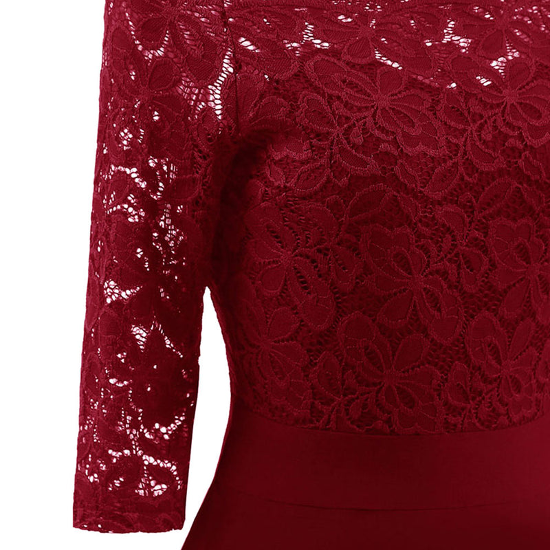 Wipalo Autumn Lace Panel Women Dress Off The Shoulder Vintage Swing Dresses Elegant Solid Red Midi Party Dress Vestidos Mujer