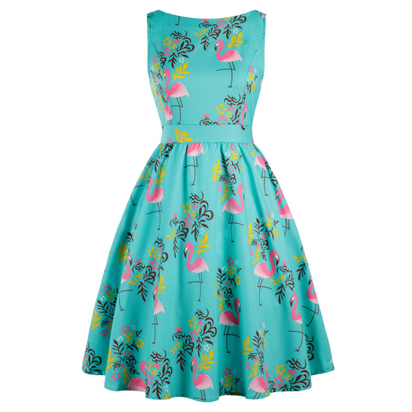 Wipalo Plus Size 3XL Women Summer Rockabilly Swing Vintage Dress Flamingo Floral Print Party Vestidos Retro Dress Vestidos Mujer