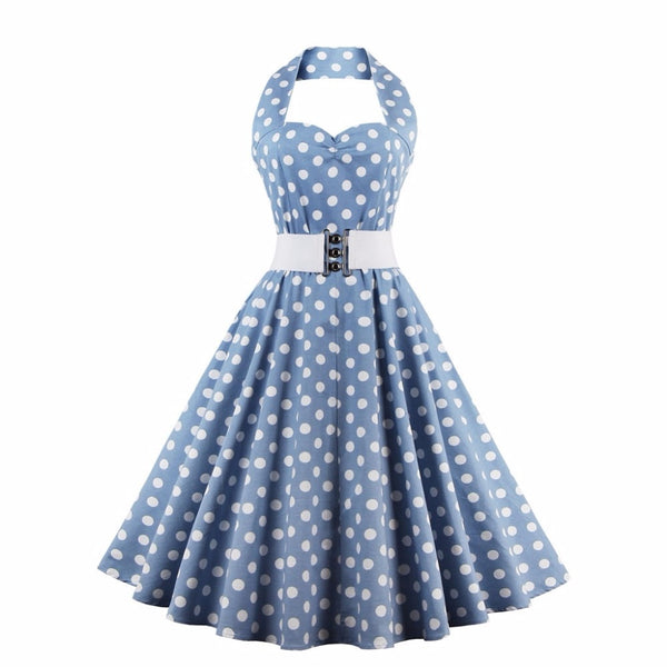 Wipalo Polka Dot Print Vintage Dress Women Cotton Rockabilly Sleeveless Halter Swing Party Dresses With Belt Feminino Vestidos