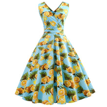 Wipalo Women 5XL  50s  Retro Vintage Dress Lemon Print Sleeveless Spring Summer Dress Feminino Rockabilly Swing Party Dress