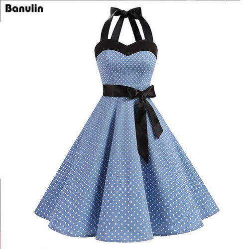 46c0a953fb9c Woman Dress 2018 Summer Halter Vintage Red Black Polka Dot Dress Retro  Cocktail Party 50s 60s