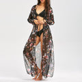 Women Long Chiffon Kimono Cape Floral Print Cardigan Blusa Feminina Casual Shirts Jackets Long Beach Cover Up Top Blusa Feminina