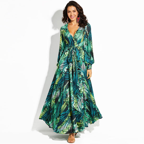 Women Long Sleeve Dress Tropical Print Vintage Maxi Dresses Boho Casual V Neck Belt Lace Up Tunic Draped Plus Size Dress