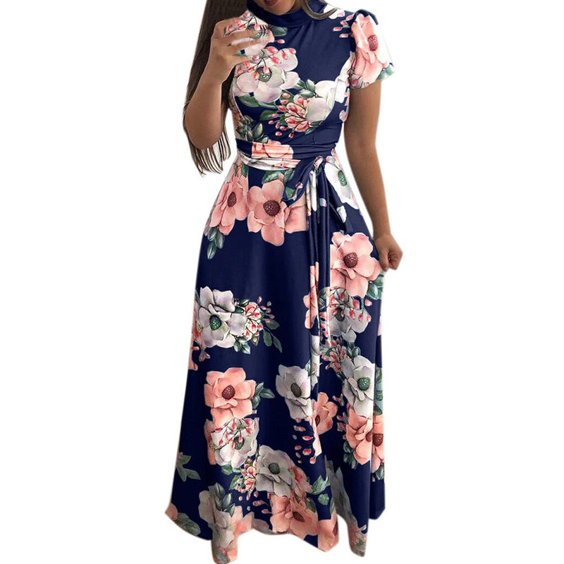 Women Maxi Dresses Summer Sweet Vintage Black Elegant Aline Floral Print Zipper Female Fashion Retro Travel OL Ladies Dress