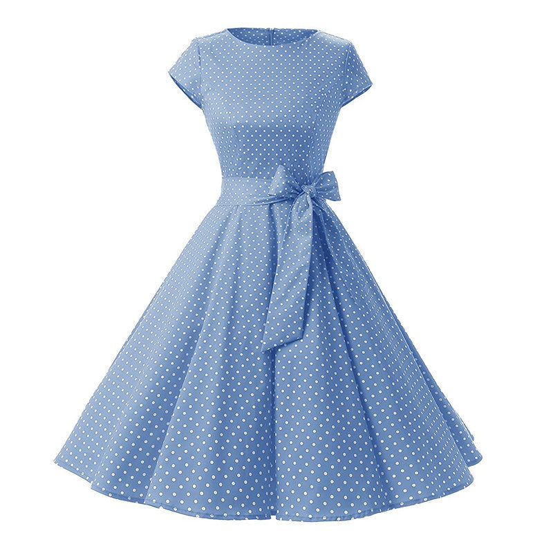 Women New 50s Retro Vintage Dress Polka Dots Short Sleeve Summer Dress Rockabilly Swing Party Dress