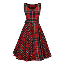Women O Neck Red Tartan Checks Plaid Dress Retro Vintage 50s 60s Pin Up Rockabilly Swing Dresses With Sash Hepburn Robe Vestidos