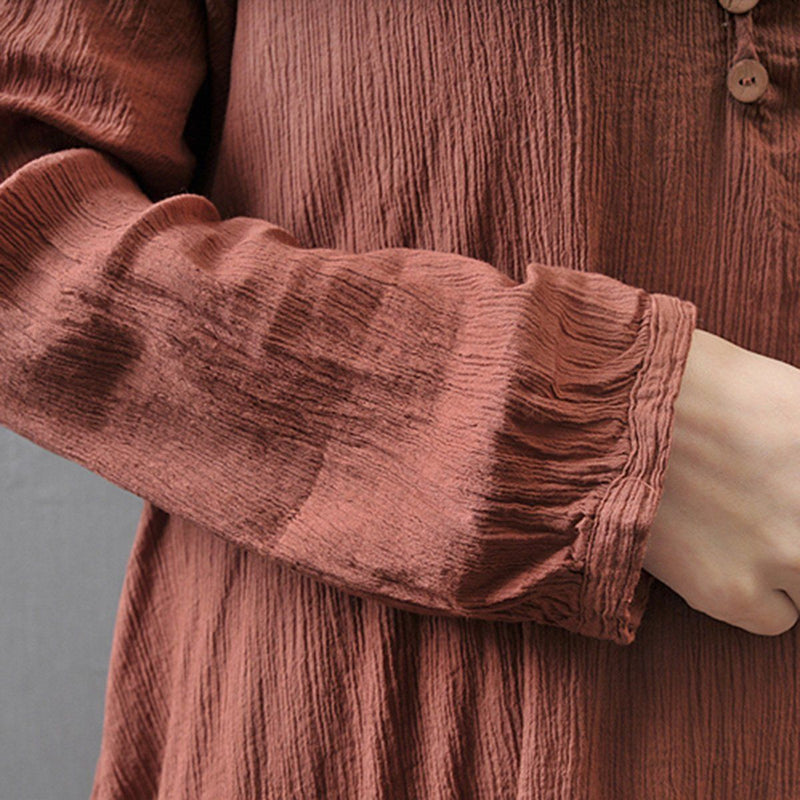 Women Peasant Ethnic Boho Cotton Linen Long Sleeve Dress Ladies Solid Color Autumn Long Maxi Dresses