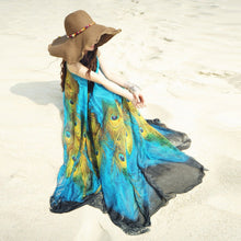 Women Plus Size Sleeveless Chiffon Maxi Dress Peacock Feather Print Sash 5XL Clothing Casual Loose Swing Tunic Long Beach Dress