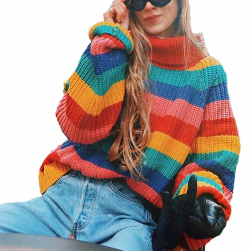 c8802e1d2fc Women Rainbow Striped Pullover Sweaters 2018 Winter And Autumn Turtleneck  Loose Oversizd Knit Jumpers Fashion Colorful
