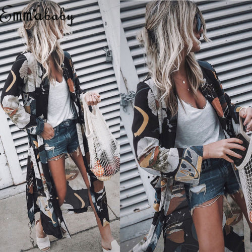 Women Vintage Loose Fashion Long Maxi Stylish New Long Sleeve Kimono Floral Cardigan Boho Chiffon Tops Jacket