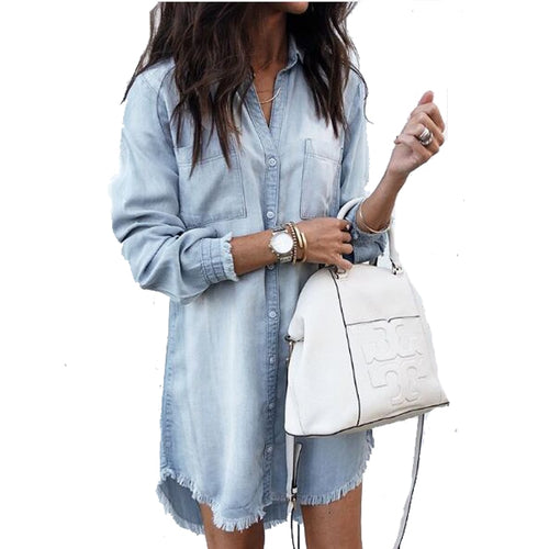 Women Washed Denim Jean Dress Female Long Sleeve Deep Vneck Loose Casual Long Sleeve Shirt Dress Autumn Size S-XL 4 Colors
