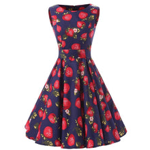 Women 50s Rockabilly Vintage Dress Polka Dots Floral Sleeveless Skater Dress Audrey Hepburn Style Circle Swing Dress