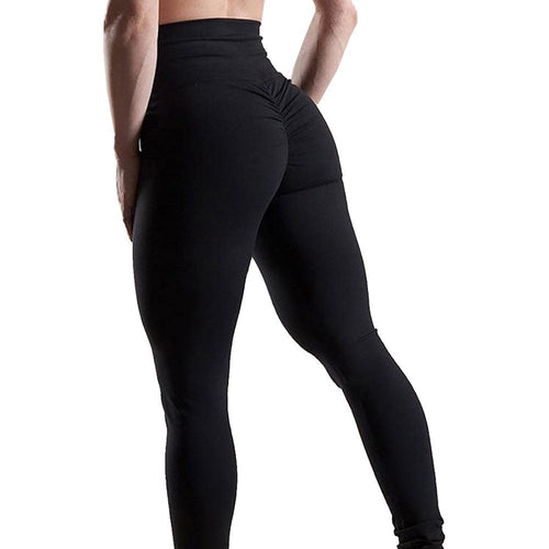 102712281244f Women's High Waisted Bottom Scrunch Leggings Ruched Yoga Pants Push up Butt  Lift Stretchy Trousers Workout