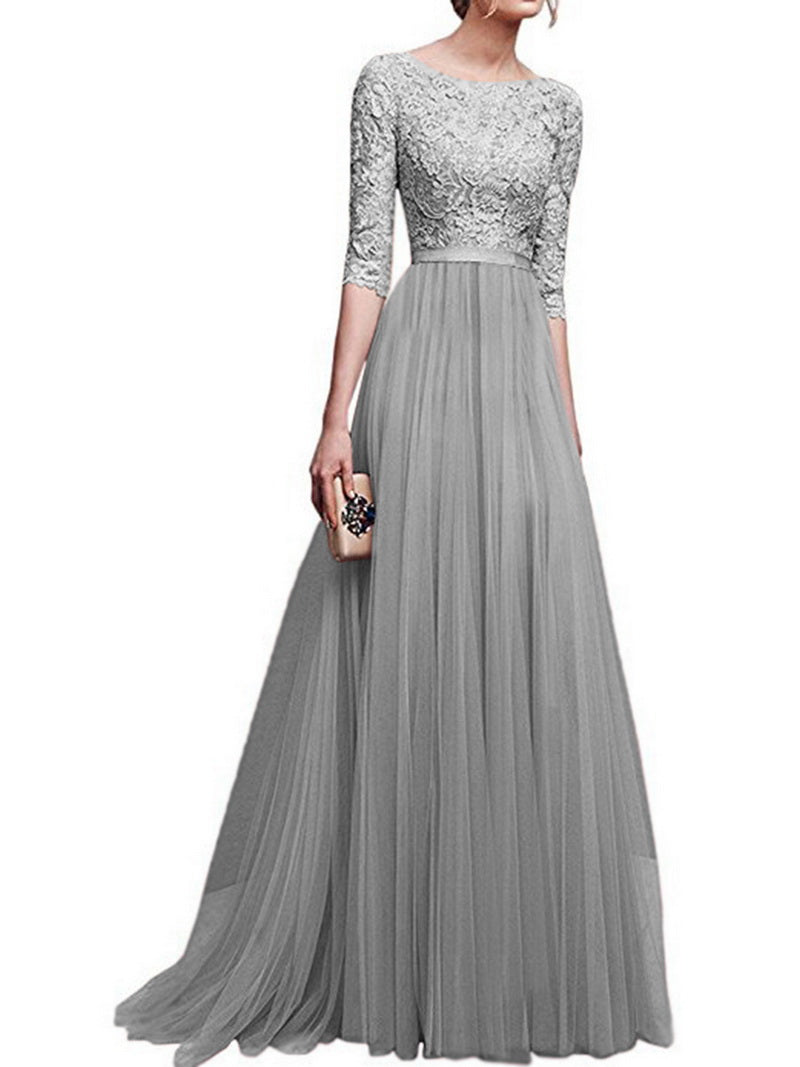 Women O Neck Long Sleeve Elegant Lace Long Dress Women A Line Tulle Party Prom Long Dress