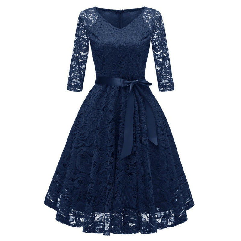 Women Vintage 3/4 Sleeve V Neck Belt Tunic Slim Swing Bridesmaid Floral Lace Dress Wedding Party A Line Dresses Vestidos