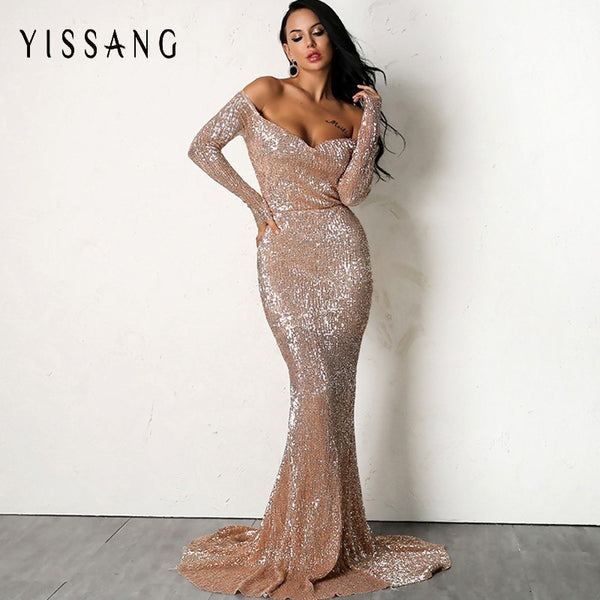 Yissang Sexy Gold Silver Sequin Floor Length Backless Dress Pink V Neck Long Sleeve Women Prom Party Formal Dresses DropShipping