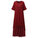 ZANZEA Summer 2018 Retro Boho Cotton Linen Dress Women Half Sleeve V Neck Button Dress Casual Long Maxi Dress Vestidos Plus Size