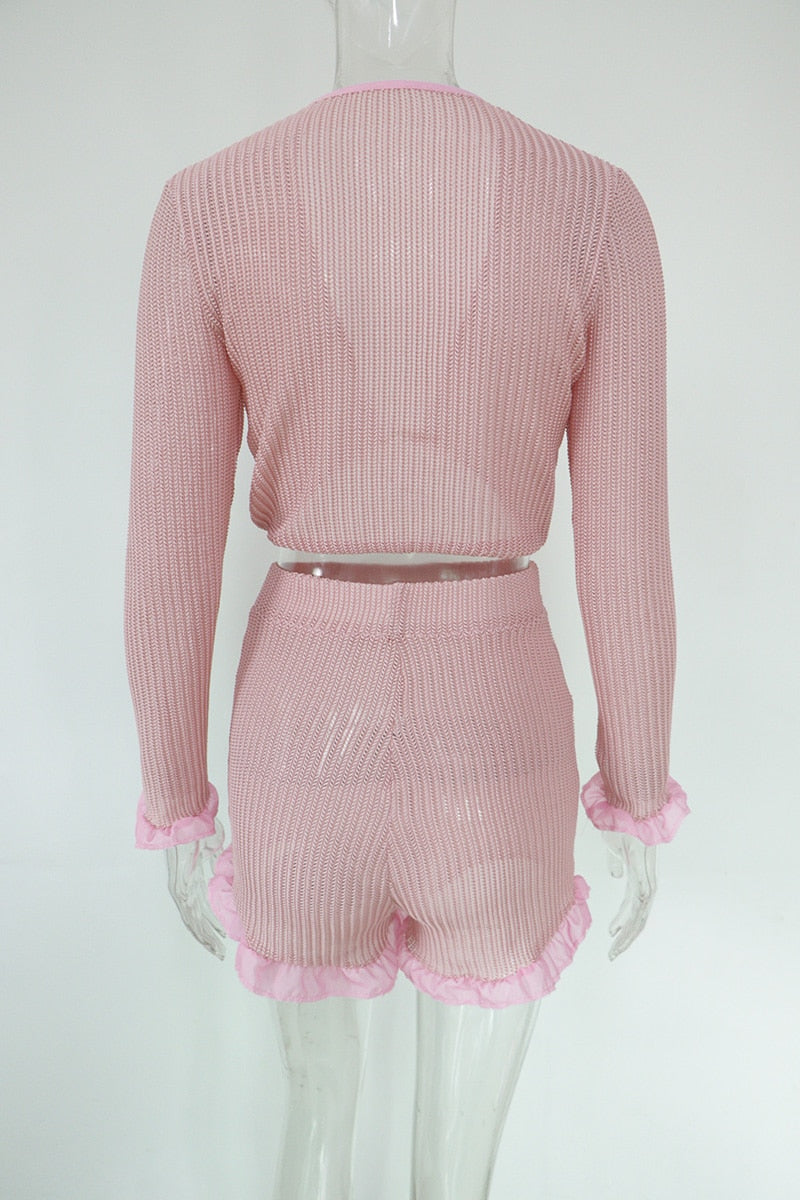 Women Cute Ruffled Mesh Trim Pink Crop Top Shorts Two Piece Set