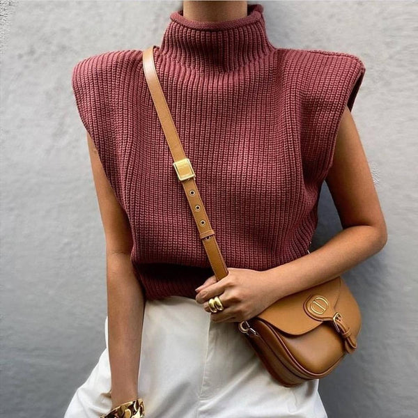 Turtleneck Sleeveless Women Vest Pullover Sweater