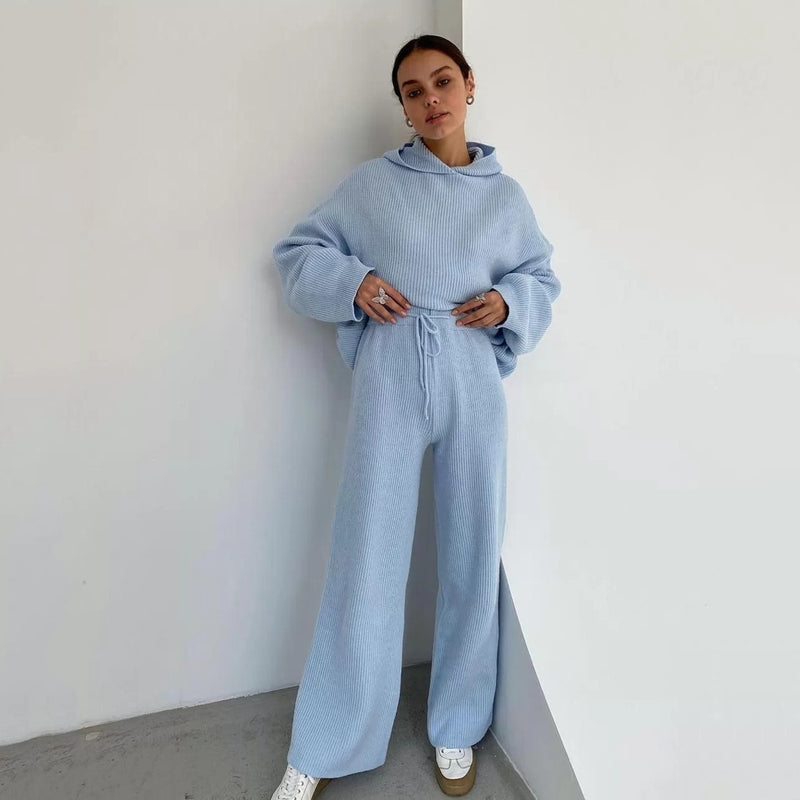 Knitted Hoodie+wide-legged Pants Suits Loungewear Sweater Set