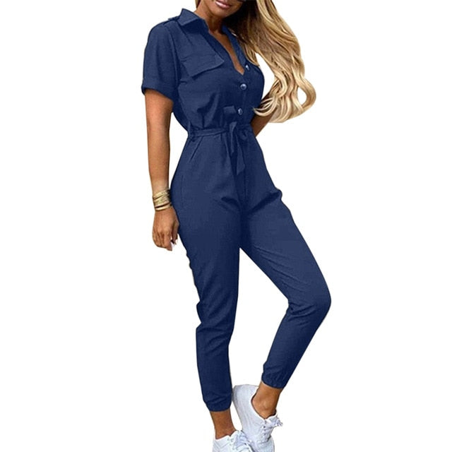 Casual Printed Shirt Collar Jumpsuits,Button Shirt Overalls Romper For Womens