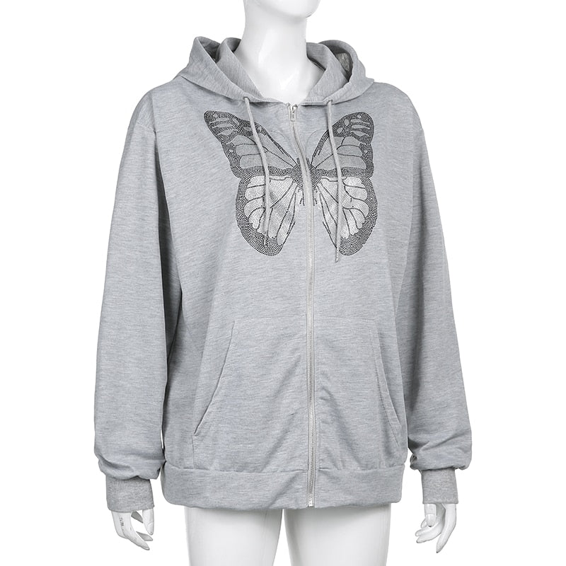 Butterfly Pattern Zipper Up Casual Loose 90s Hoodies Long Sleeve Grey Oversize Sweatshirts For Women