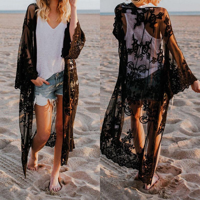 Women Lace Kimono Blouse Boho Casual Long Sleeve Cardigan Beach Cover Up Long Tops Lace Beachwear