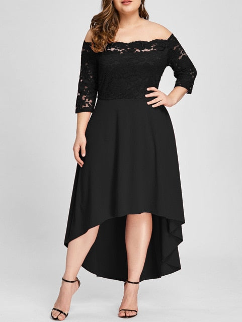 Wipalo Plus Size 5XL Off Shoulder High Low Lace Dip Hem Partty Dress Women Elegant Dress Asymmetric Maxi Dresses Vestido 2018