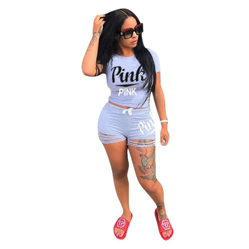 Plus Size Short Set Casual 2 Piece Set Women PINK Letters O-Neck Short Sleeve Shorts Pants Suit Bodycon Top