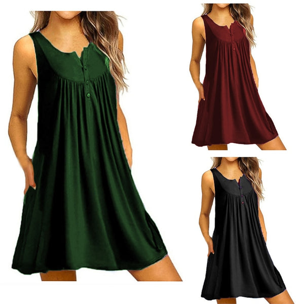 Women's Casual Summer Tank Sleeveless Knee Length Pleated Sun Dresses With Pockets Solid Ruched Loose Swing T-Shirt Dress xxxxl