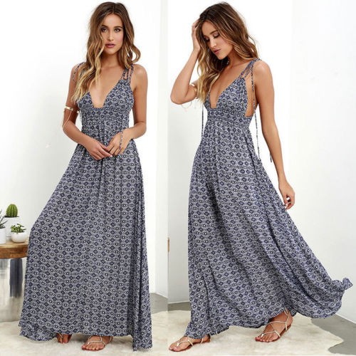 Vintage Hot Sexy Women Spaghetti Strap Print Summer Dress V-neck Boho Backless Long Maxi Dress Beach Holiday Party Women Dresses