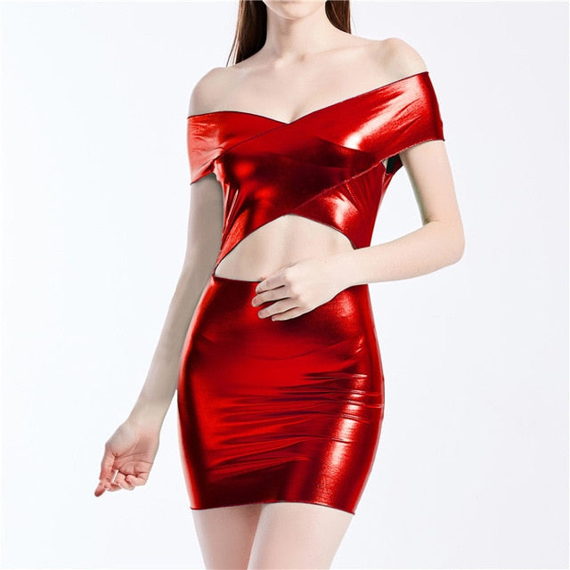 Women Metallic Colors Mini Dress Sexy Cropped Bodycon Dresses 2019 Summer Dress Sexy Streetwear Party Club Holographic Dresses