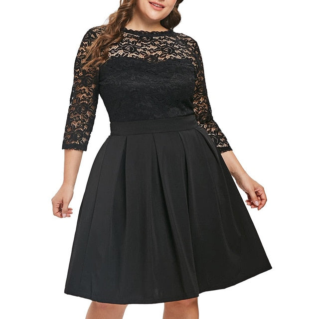New Summer Women Dress Sexy Fashion O-Neck Solid Three Quarter Sleeve Lace Panel Plus Size Flare A-Line 9032150