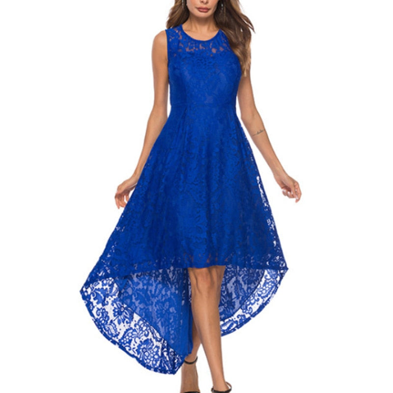 5 Colors Plus Size 5XL Women Lace Party Dress High Low Irregular Women Dress Round Neck Sleeveless Belts Party Vestidos