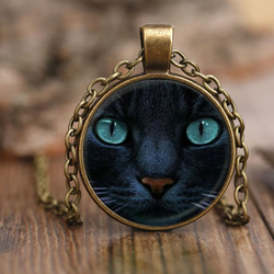 Black Blue Eye Cat Necklace