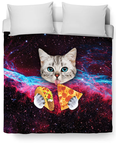 Taco Pizza Space Cat Duvet Cover